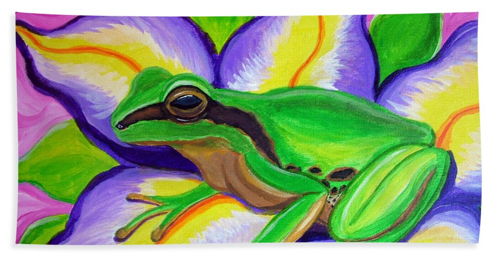 Pacific Tree Frog Bath Sheet featuring the painting Pacific Tree Frog And Flower by Nick Gustafson