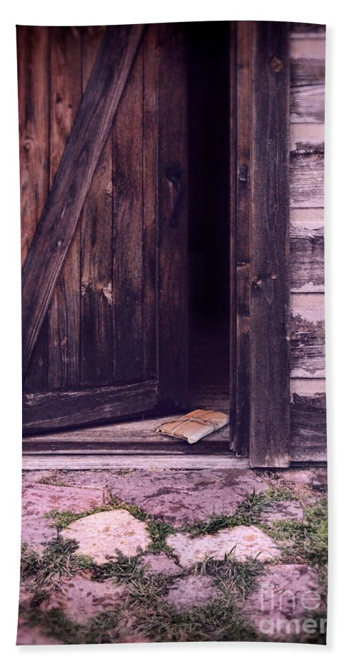 Cabin Bath Sheet featuring the photograph Package By Open Front Door by Jill Battaglia