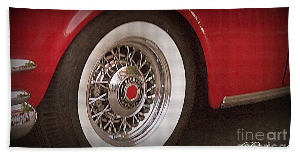 Acrylic Prints Bath Sheet featuring the photograph Packard Wheel by Bobbee Rickard