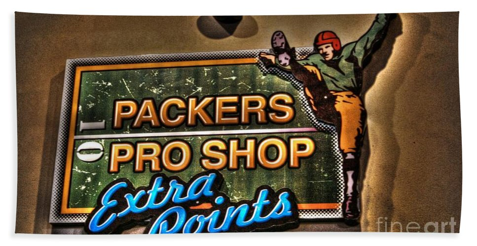 Lambeau Field Hand Towel featuring the photograph Packer Pro Shop by Tommy Anderson