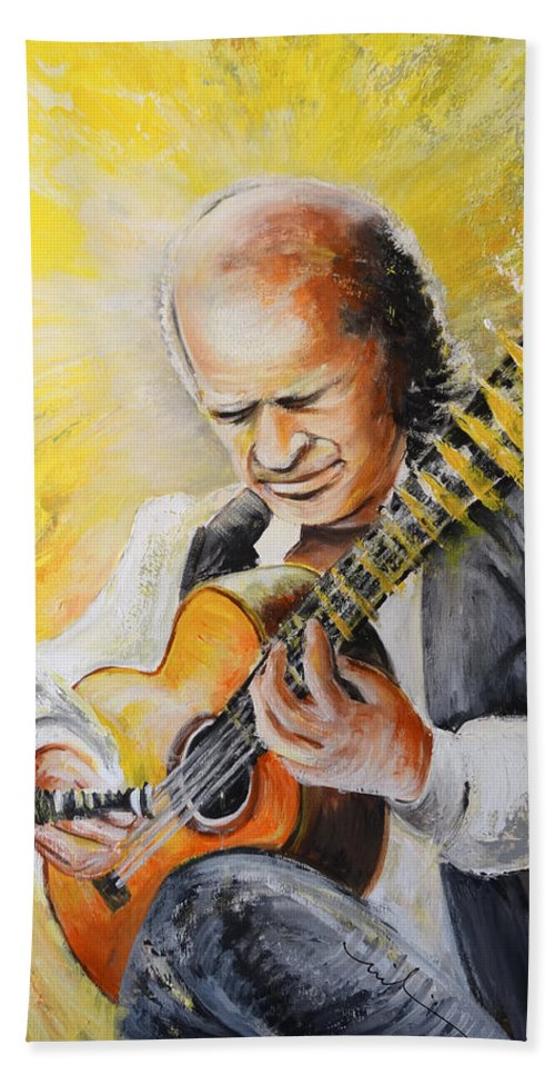 Music Hand Towel featuring the painting Paco De Lucia by Miki De Goodaboom
