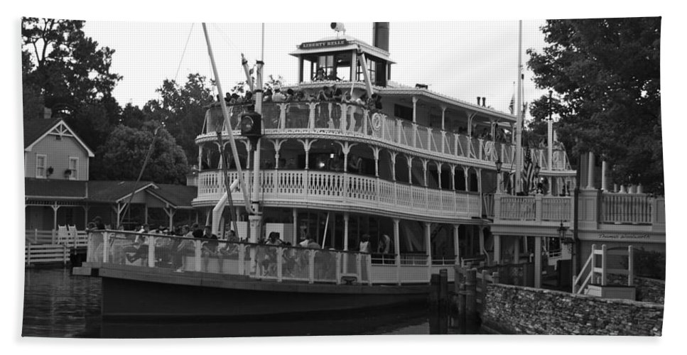 Black And White Bath Sheet featuring the photograph Paddle Boat Black And White Walt Disney World by Thomas Woolworth