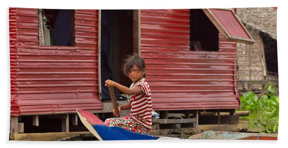 Cambodia Hand Towel featuring the photograph Paddling Through The Village by David Freuthal