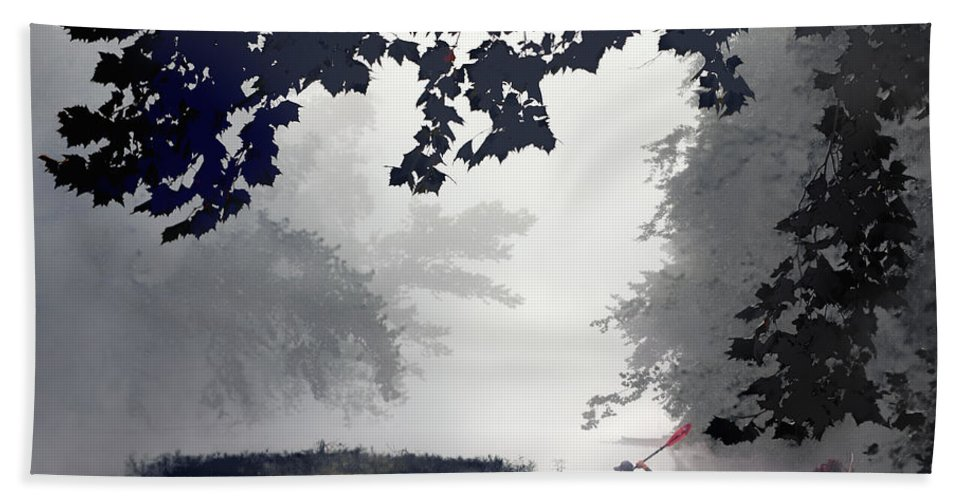2014 Hand Towel featuring the photograph Paddling Towards The Unknown by Robert Charity