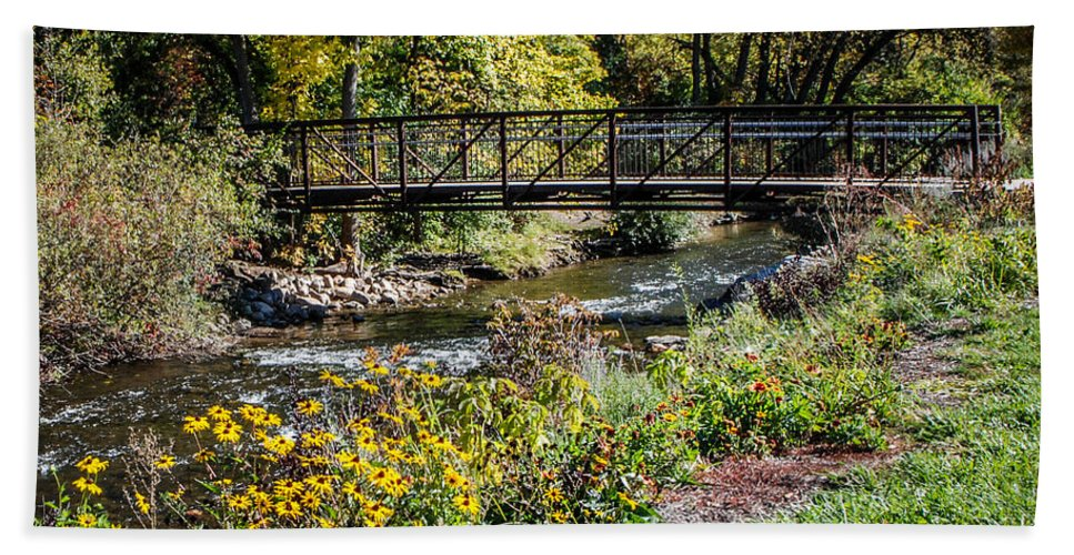 Paint Creek Bath Sheet featuring the photograph Paint Creek Bridge by Grace Grogan