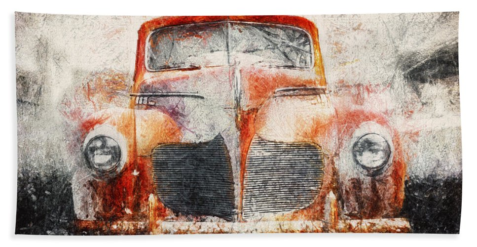 Desoto Bath Towel featuring the photograph Painted 1940 Desoto Deluxe by Scott Norris