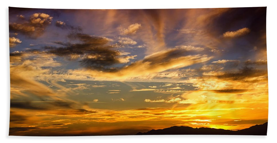 Sunset Bath Sheet featuring the photograph Painted By Mother Nature by Saija Lehtonen