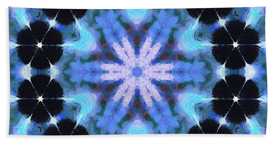 Sacredlife Mandalas Hand Towel featuring the painting Painted Cymatics 108.00hz by Derek Gedney