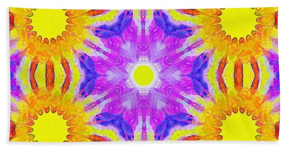 Sacredlife Mandalas Bath Sheet featuring the painting Painted Cymatics 161.66hz by Derek Gedney