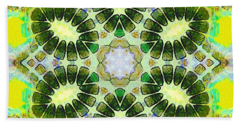 Sacredlife Mandalas Hand Towel featuring the painting Painted Cymatics 181.66hz by Derek Gedney