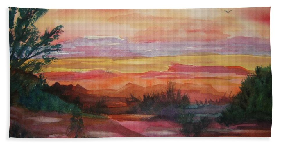 Southwest Hand Towel featuring the painting Painted Desert II by Ellen Levinson
