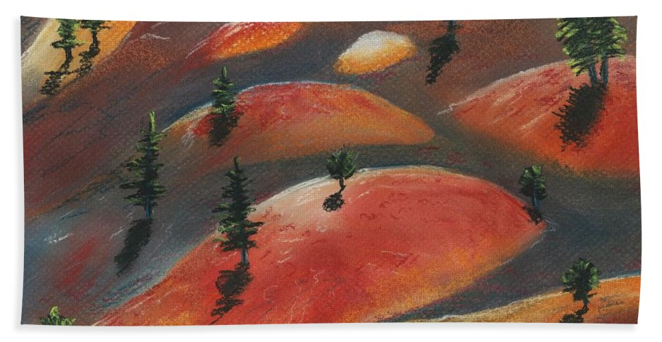 Famous Hand Towel featuring the painting Painted Dunes by Anastasiya Malakhova