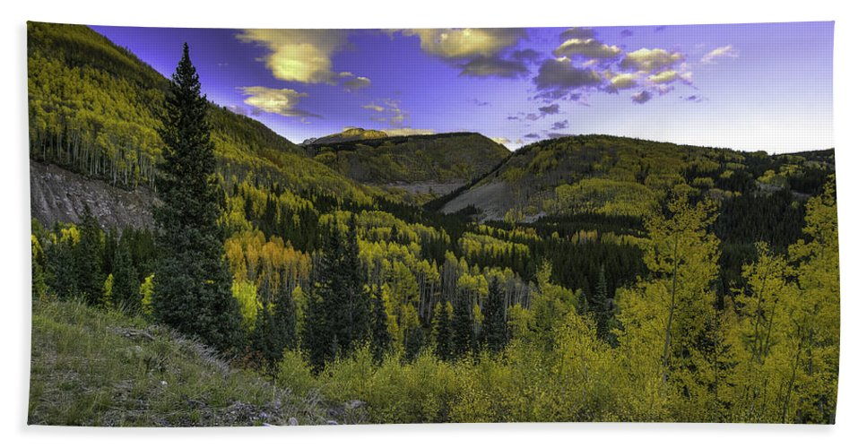 Landscape Hand Towel featuring the photograph Painted Mountains by Bill Sherrell