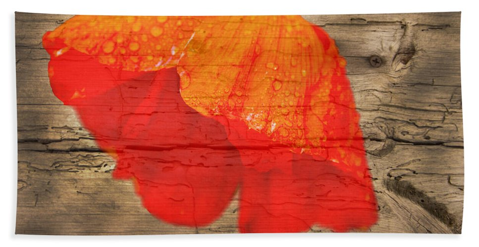 Poppy Bath Sheet featuring the photograph Painted Poppy On Wood by Randall Branham