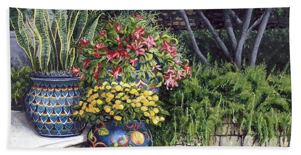 Floral Bath Towel featuring the painting Painted Pots by Mary Palmer