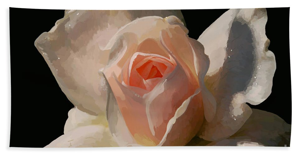 Rose Bath Sheet featuring the digital art Painted Rose by Lois Bryan
