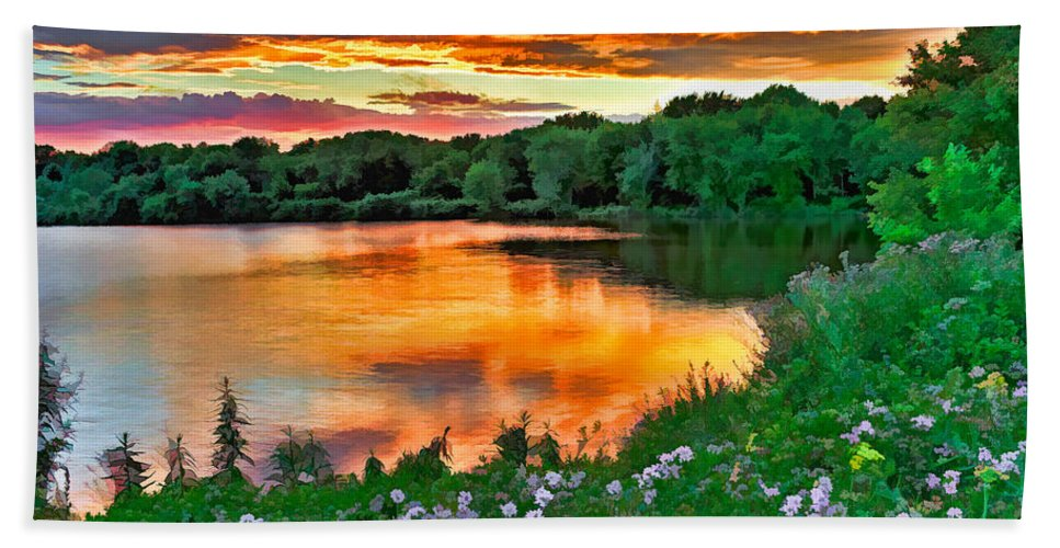 Sunset Bath Sheet featuring the photograph Painted Sunset by William Jobes