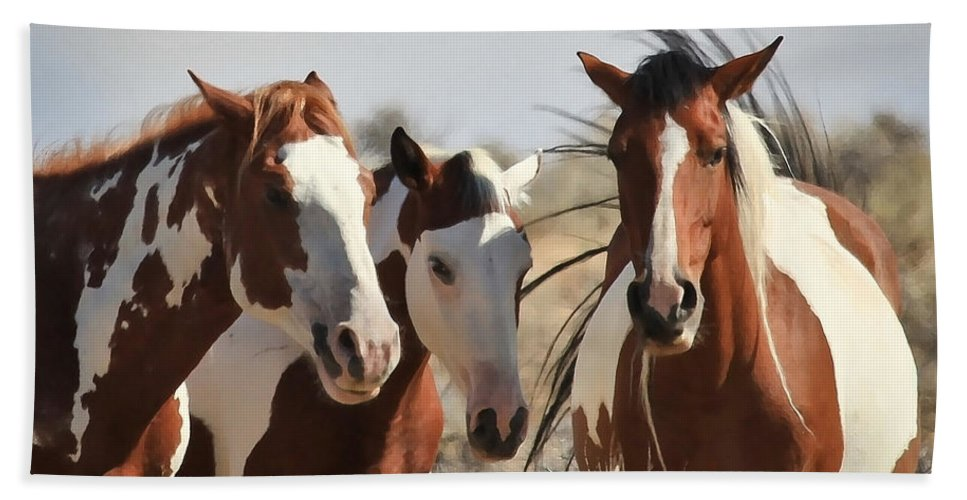 Horses Hand Towel featuring the photograph Painted Wild Horses by Athena Mckinzie
