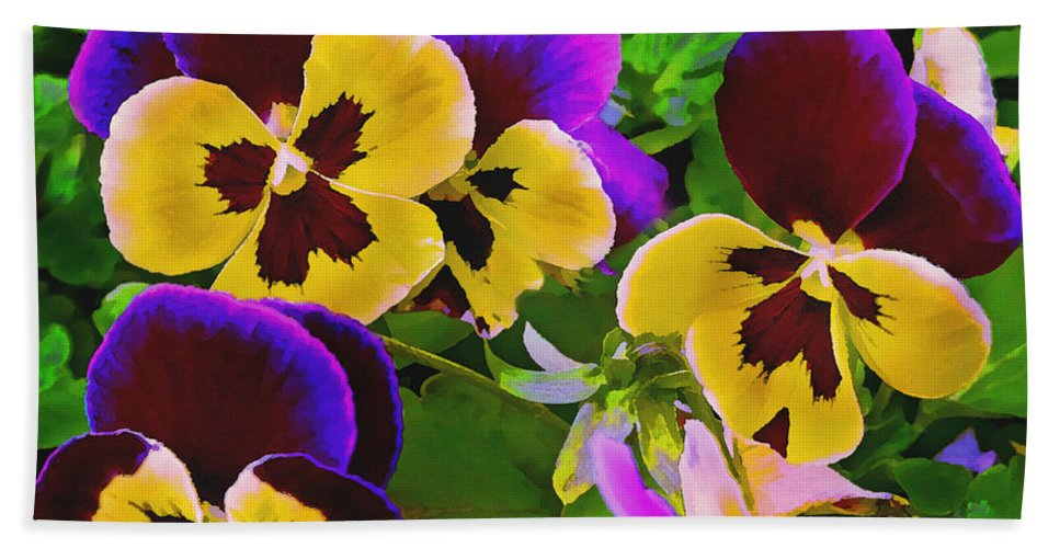 Pansy Bath Sheet featuring the painting Painterly Purple Pansy by Peter Piatt