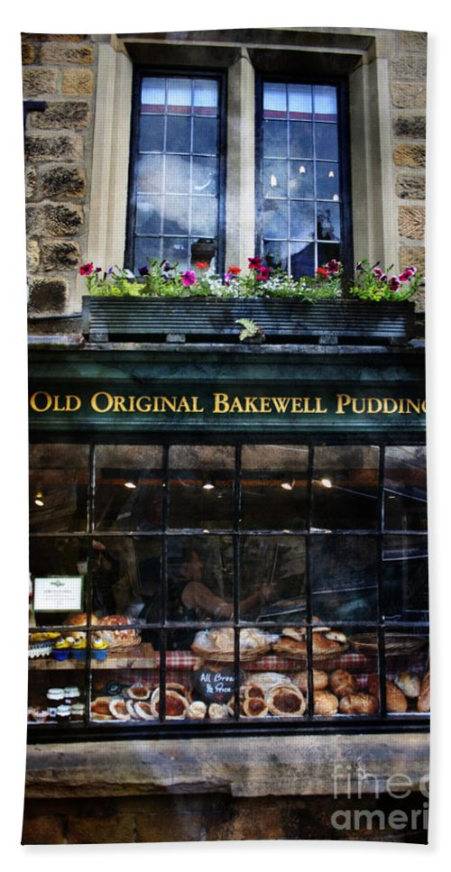 Bakewell Bath Sheet featuring the painting Can You See The Ghost In The Top Window At The Old Original Bakewell Pudding Shop by Doc Braham