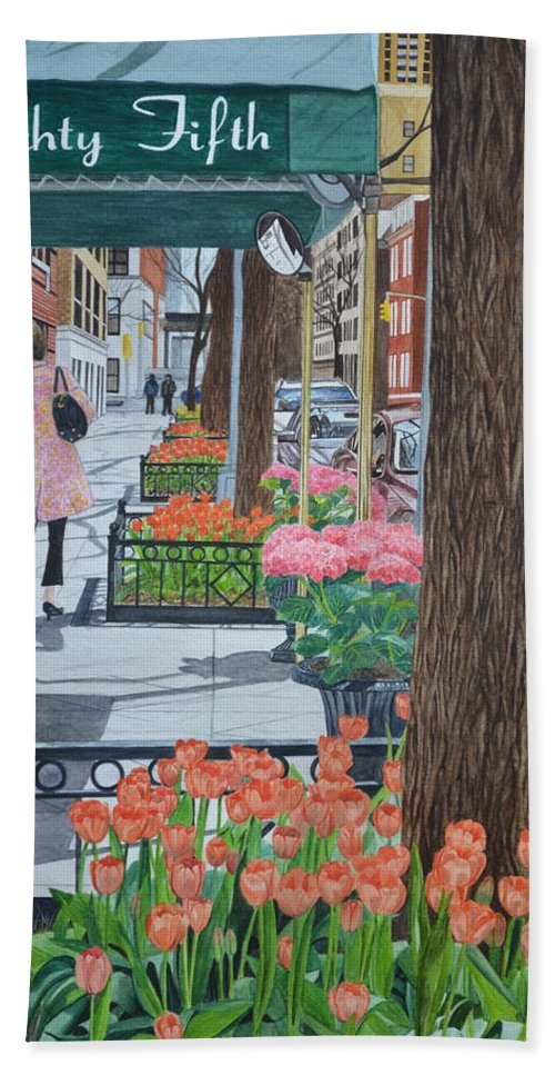 New York Bath Sheet featuring the painting Painting The New York Street by Swati Singh