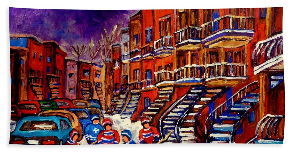 Montreal Hand Towel featuring the painting Paintings Of Montreal Hockey On Du Bullion Street by Carole Spandau