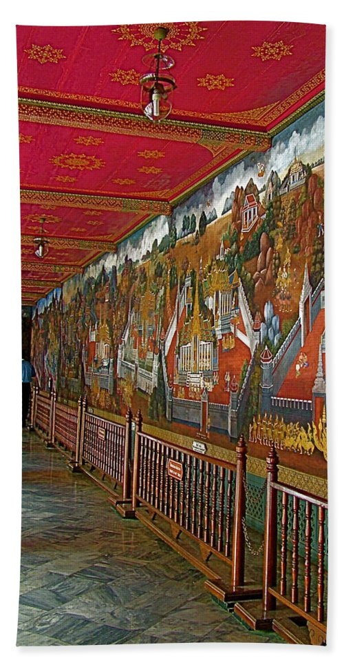 Paintings On Wall Of Middle Court Hall Of Grand Palace Of Thailand In Bangkok Hand Towel featuring the photograph Paintings On Wall Of Middle Court Hallof Grand Palace Of Thailand by Ruth Hager