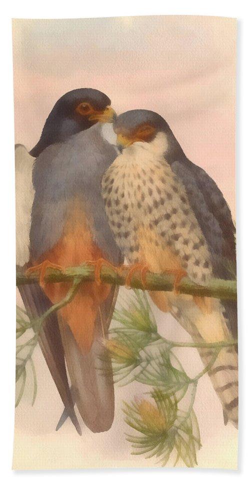 Pair Amur Falcons Hand Towel featuring the digital art Pair Amur Falcons by Vintage File Collection