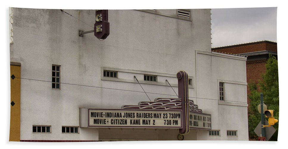 Palace Movie Theater Bath Sheet featuring the photograph Palace Movie Theater by Debby Richards
