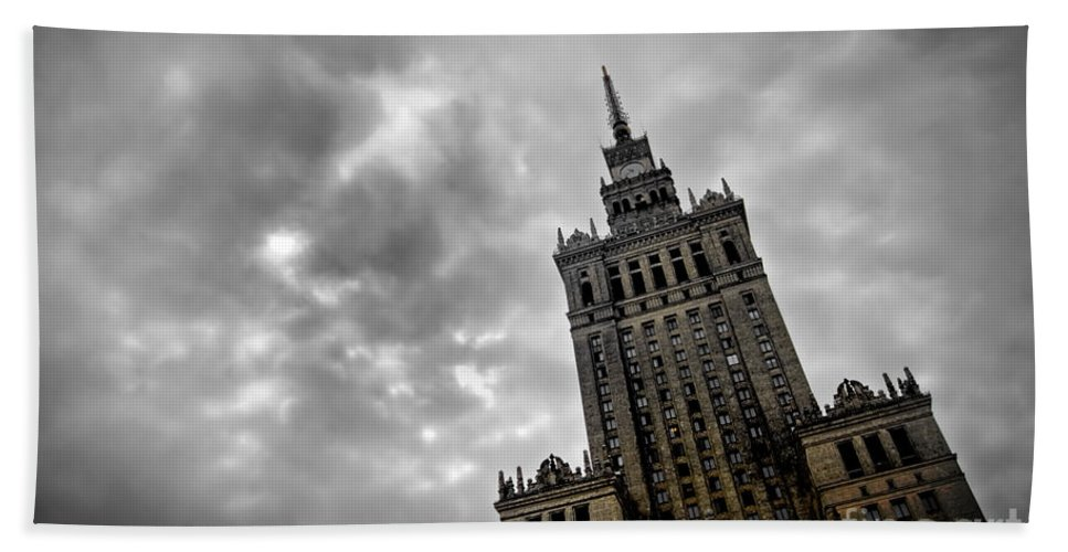 Architecture Bath Sheet featuring the photograph Palace Of Culture And Science In Warsaw by Michal Bednarek