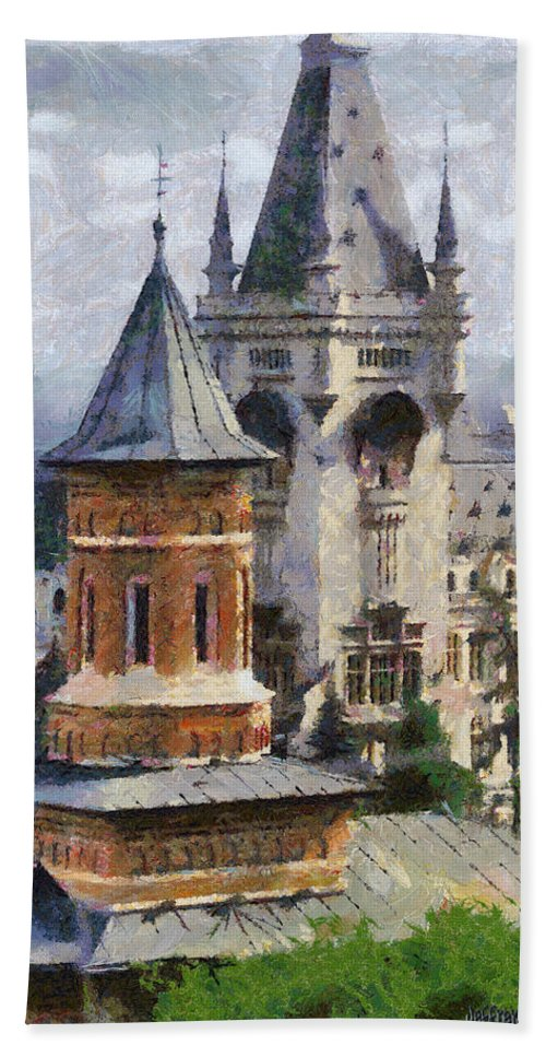 Chapel Hand Towel featuring the painting Palace Of Culture by Jeffrey Kolker