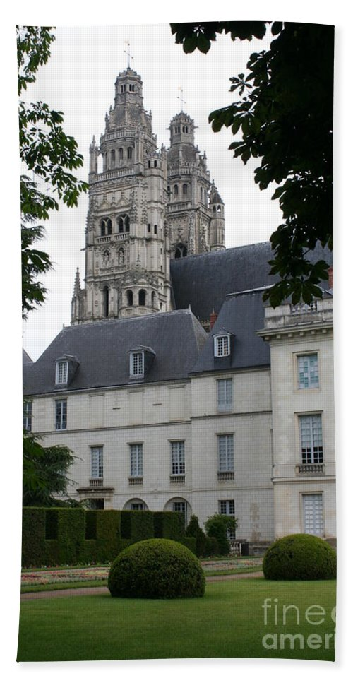 Cathedral Hand Towel featuring the photograph Palais In Tours With Cathedral Steeple by Christiane Schulze Art And Photography