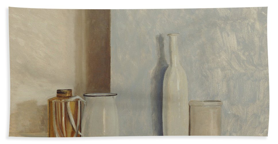 Still Life Hand Towel featuring the painting Pale Grey And Blue by William Packer