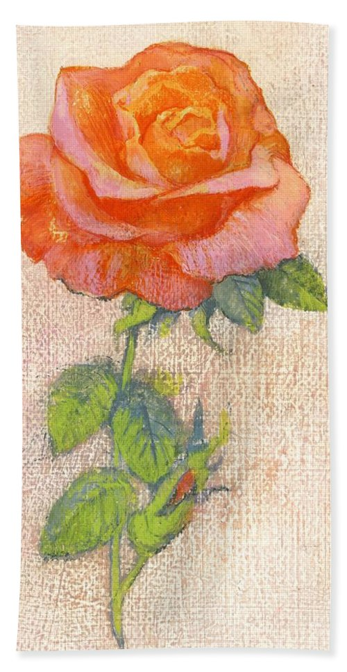 Still Lives Of Flowers Hand Towel featuring the painting Pale Rose by George Adamson