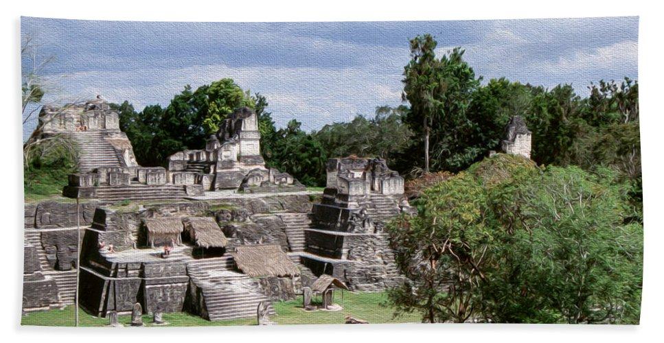 America Bath Sheet featuring the digital art Palenque Ruins by Roy Pedersen