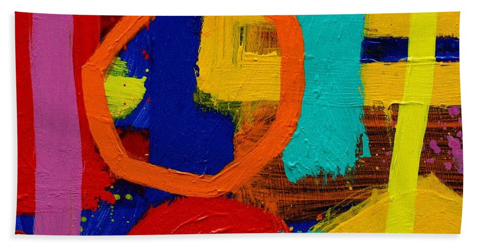 Abstract Hand Towel featuring the painting Palimpsest X by John Nolan