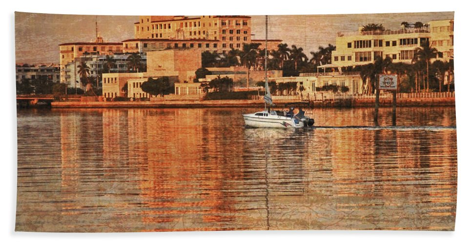 Boats Bath Sheet featuring the photograph Palm Beach At Golden Hour by Debra and Dave Vanderlaan