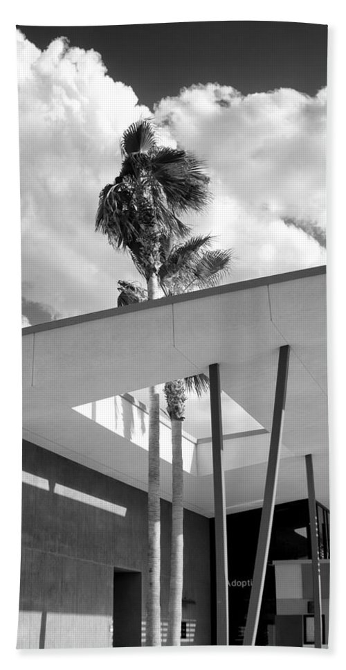 Desert Bath Sheet featuring the photograph Palm Springs Animal Shelter Palms Bw Palm Springs by William Dey