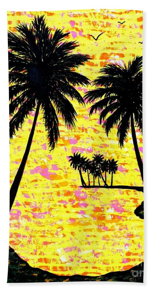 Island Bath Sheet featuring the painting Palm Sunday by JoNeL Art