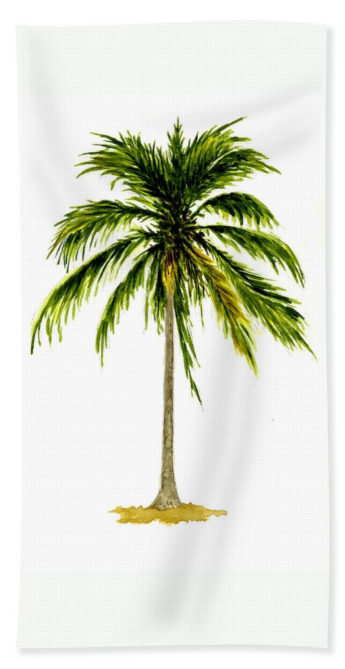Palm Tree Hand Towel featuring the painting Palm Tree Number 2 by Michael Vigliotti