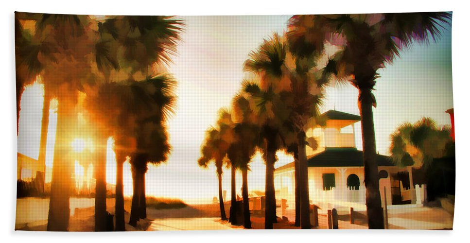 Palm Tree Florida Sunrise Jacksonville Beach Entrance Bath Sheet featuring the photograph Palm Tree Sunrise by Alice Gipson