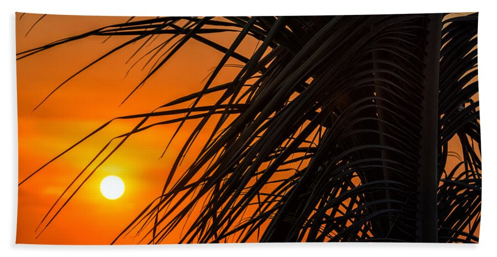 Beach Hand Towel featuring the photograph Palm Tree Sunset by Jess Kraft