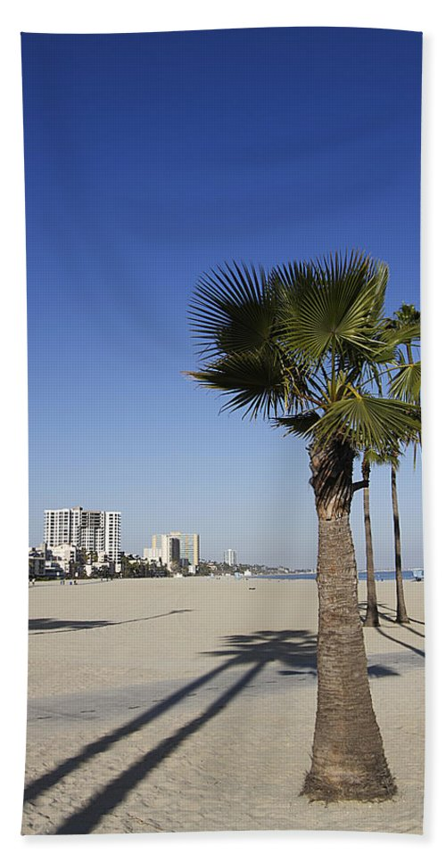 Palm Trees Hand Towel featuring the photograph Palm Trees At Long Beach California by Peter Lloyd