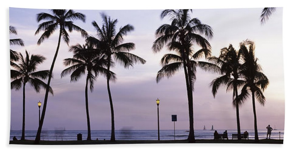 Photography Hand Towel featuring the photograph Palm Trees On The Beach, Waikiki by Panoramic Images