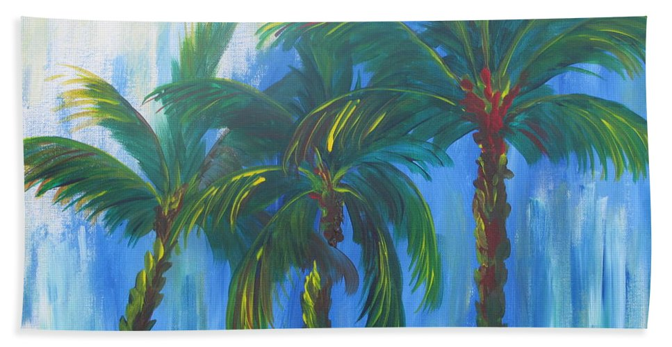 Acrylic Painting Bath Sheet featuring the painting Palm Trio by Kathie Camara