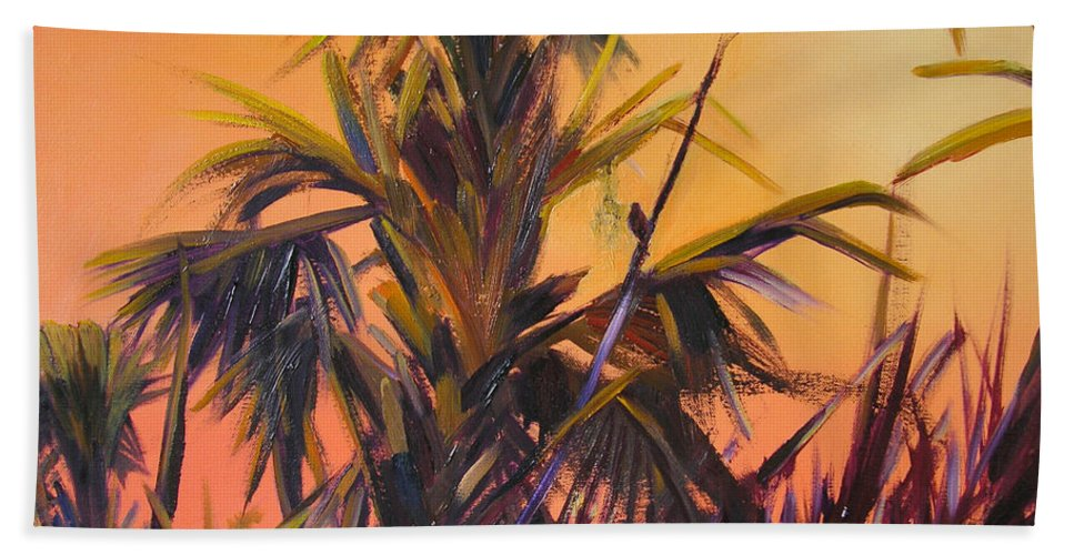 Impressionism Bath Sheet featuring the painting Palmettos At Dusk by Julianne Felton