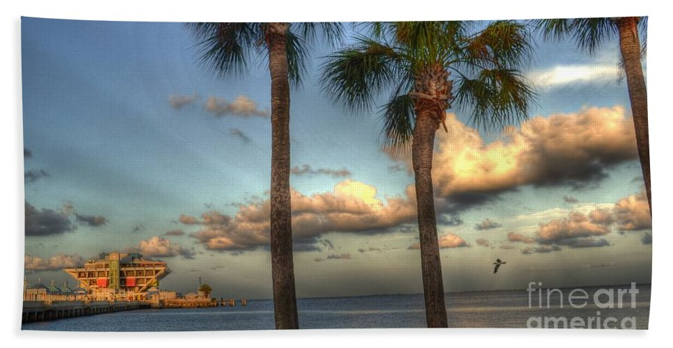 Pier Bath Sheet featuring the photograph Palms At The Pier by Timothy Lowry