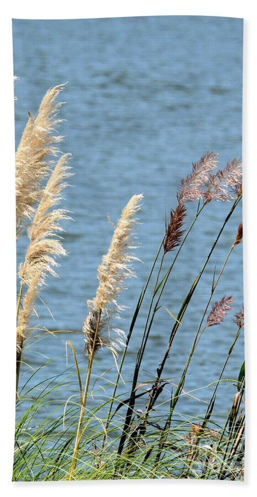 Pampas Hand Towel featuring the photograph Pampas On The Lake by Maria Urso