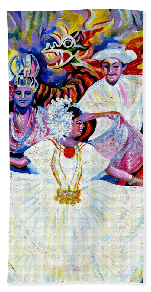Travel Bath Sheet featuring the painting Panama Carnival. Fiesta by Anna Duyunova