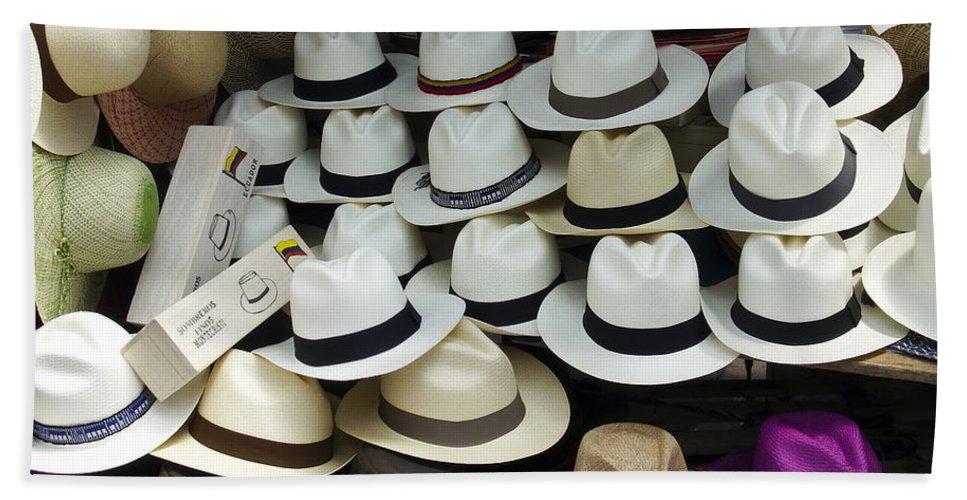 Hat Bath Sheet featuring the photograph Panama Hats In Ecuador by Kurt Van Wagner